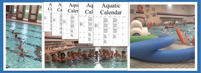 Photos of aquatics classes in action in the pool